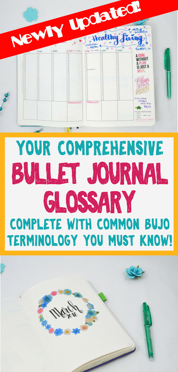 Bullet Journal - This bullet journal glossary is filled to the brim with helpful information and inspirational ideas to help you become a bullet journal expert! Learn about different layouts, awesome stationery supplies, and other bullet journal ideas you must know about!