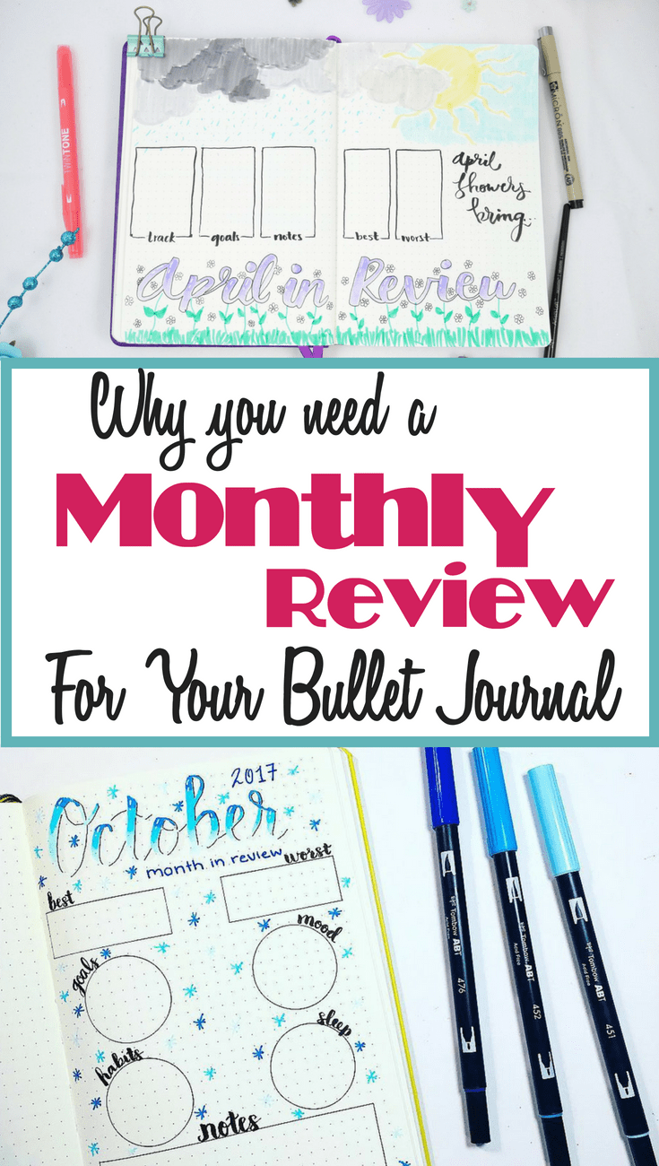 If you use bullet journal spreads such as trackers, weekly spreads, and monthly layouts, do you ever think to do anything with them? A monthly review allows you to use the information from your bullet journal layouts to optimize your life and future bullet journal spreads! Learn tips and tricks on how to set up the perfect monthly review and why you need to start one right now. Lots of excellent and fun bujo inspiration ideas.