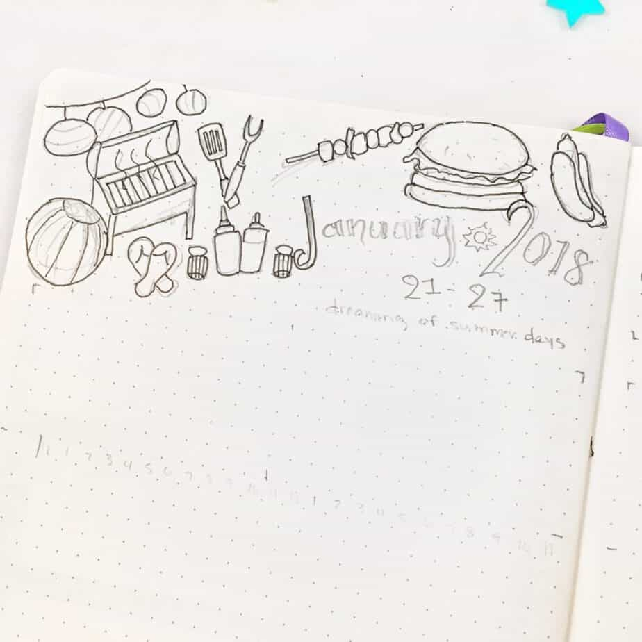Bullet journal rough draft weekly setup