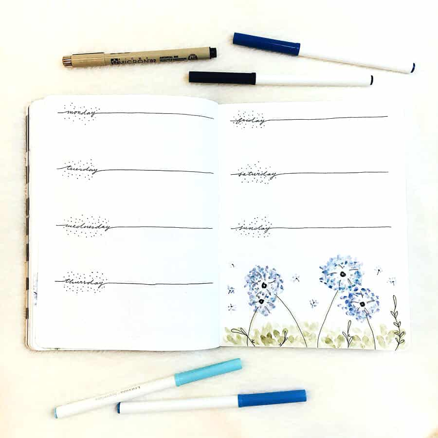 Blue dandelion theme bullet journal weekly layout