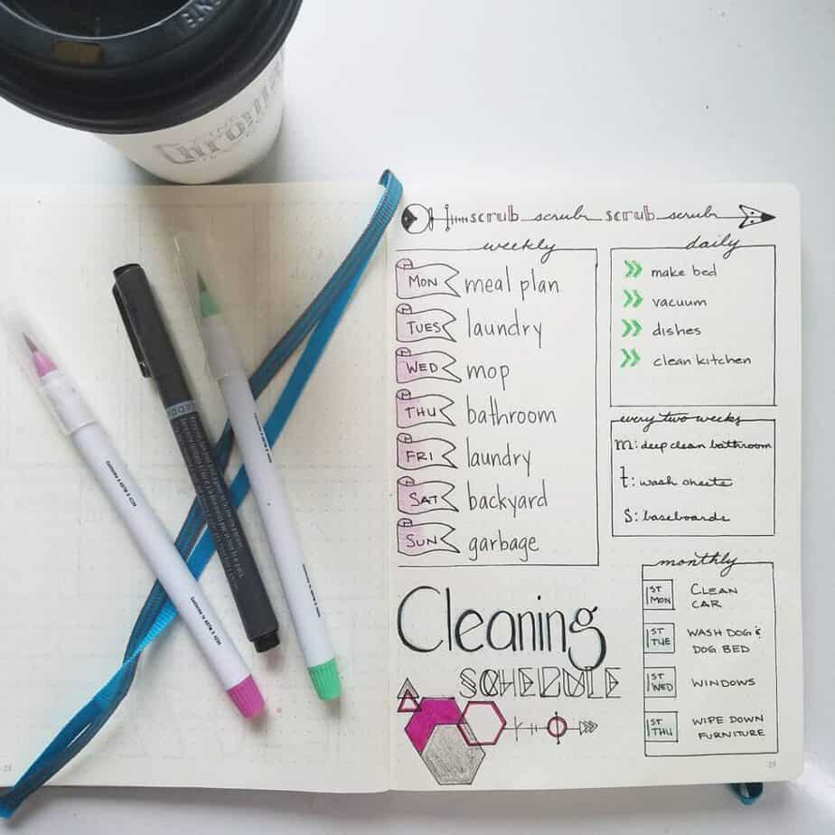 Bullet Journal Ideas | Lots of terrific inspiration on how to use your bullet journal to organize for spring cleaning! Learn how to prepare ahead of time and get tons of ideas and inspiration perfect for prepping your bujo to clean! Even get some inspiration on how to 'spring clean' your cleaning routine with more bullet journal layouts that are great for chores and projects year round!
