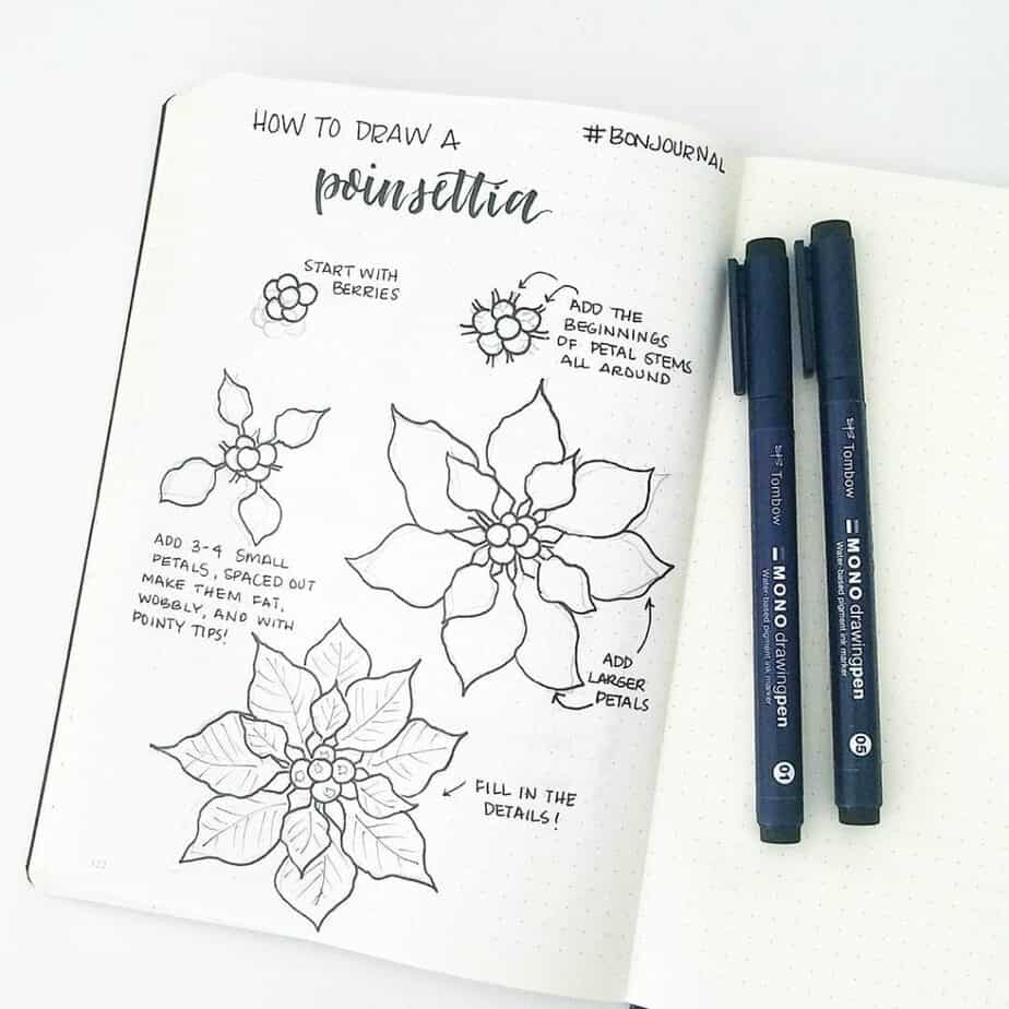 How to draw a poinsettia flower doodle.