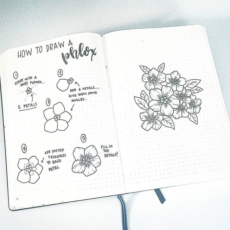 How To Draw Easy Flower Doodles For Bullet Journal Spreads