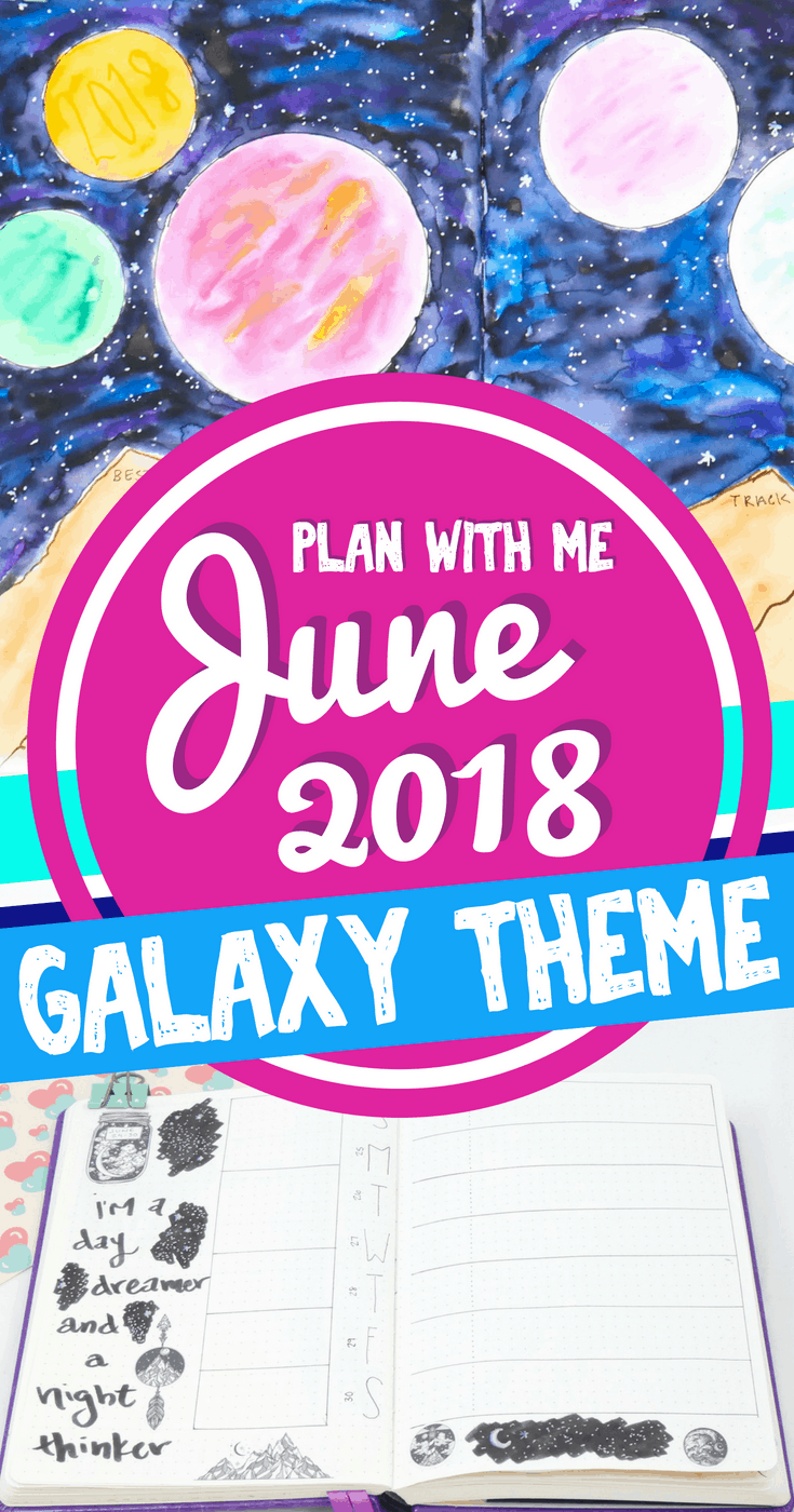 June 2018 Plan with Me! Are you ready to start off the first month of summer in your bullet journal? Get terrific bullet journal ideas and layouts, stunning galaxy doodles and watercolor art, and other great inspiration to decorate your bujo. Even find out which bullet journal supplies I used! Bullet journal setup for June.