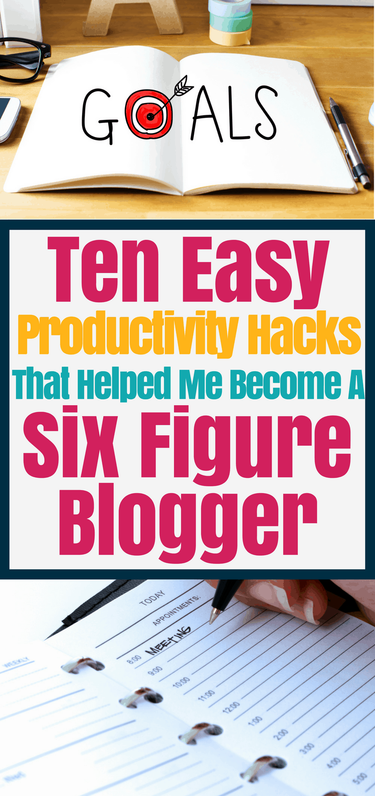 Ten productivity tips from a six figure blogger. Learn these life changing time management tips that will help you organize your life and become successful. Improve your productivity by using a planner, taking care of yourself, and other easy tips to help you be productive. Time management for entrepreneurs, students, moms, and bloggers.