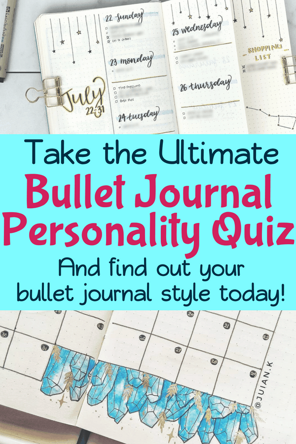The bullet journal quiz that will tell you your specific bullet journal personality! Do you like lots of decorations and doodles in your bujo, or are you a minimalist? Maybe you like to use your bullet journals for #studygram! Either way, find out today and be filled with bullet journal inspiration. #bulletjournal #bujo #bulletjournalcommunity