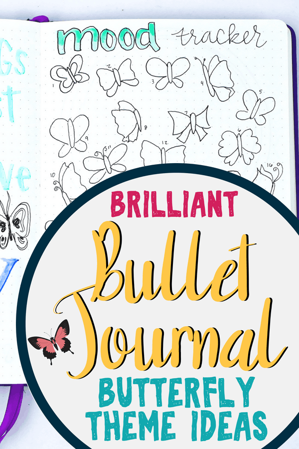 Butterfly bullet journal theme inspiration! Need a fun idea for your next bullet journal spreads? Try a butterfly theme! It's great for all skill levels with tons of beautiful bullet journal art and inspiration. Get fun planner doodles for your layouts. #bujo #bulletjournal #bulletfjournaltheme #planner #diy #art