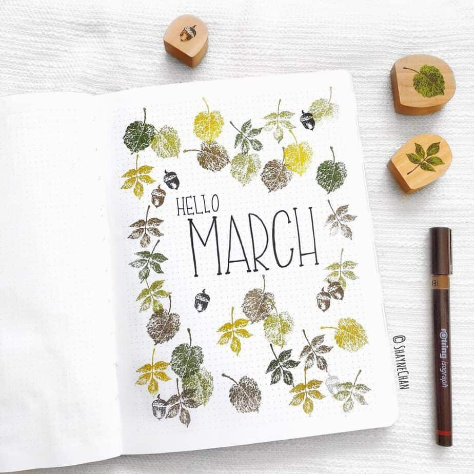 More great work from @shaynechan again I love that Shayne is a big lover of utilizing tools that make life easier for bullet journals. Check out her great use of stamps to make her cover page for March!