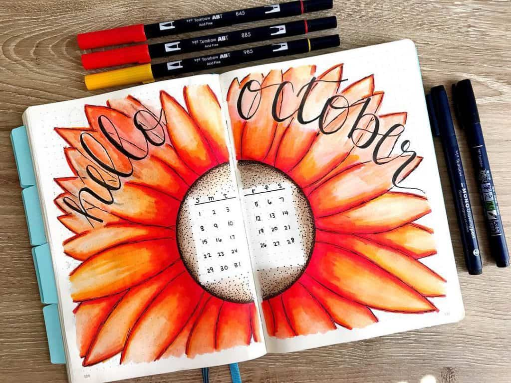 Vivid sunflower cover page from @bluenittany This vibrant sunflower spread by Ashlyn is so incredible. Love the vivid orange, perfect for October!
