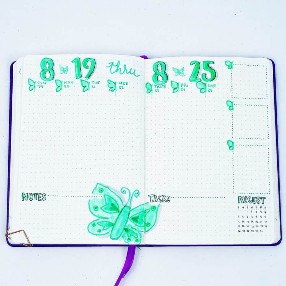 Need a creative bullet journal theme for next month or next week? Try a butterfly theme for your bullet journal! It's great for all skill levels. Get fun planner doodle ideas, bullet journal ideas and inspiration for many different types of butterfly spreads in your bujo. #bulletjournal #bulletjournalideas #bulletjournalcommunity #diy #plannerdoodles #doodles
