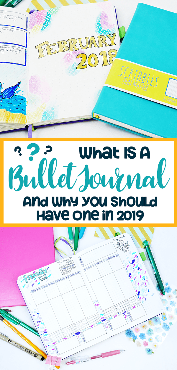 What is a bullet journal and why you should have one in 2019 Pinterest pin with yellow border and black and turquoise text.