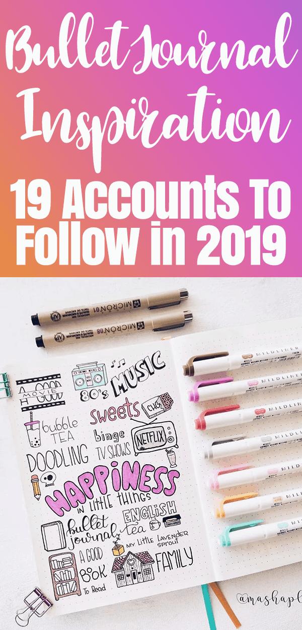 Bullet Journal Inspiration for 2019 Pinterest Image with bullet journal spreads number 4
