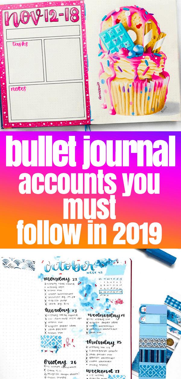 Bullet Journal Inspiration for 2019 Pinterest Image with bullet journal spreads number 3
