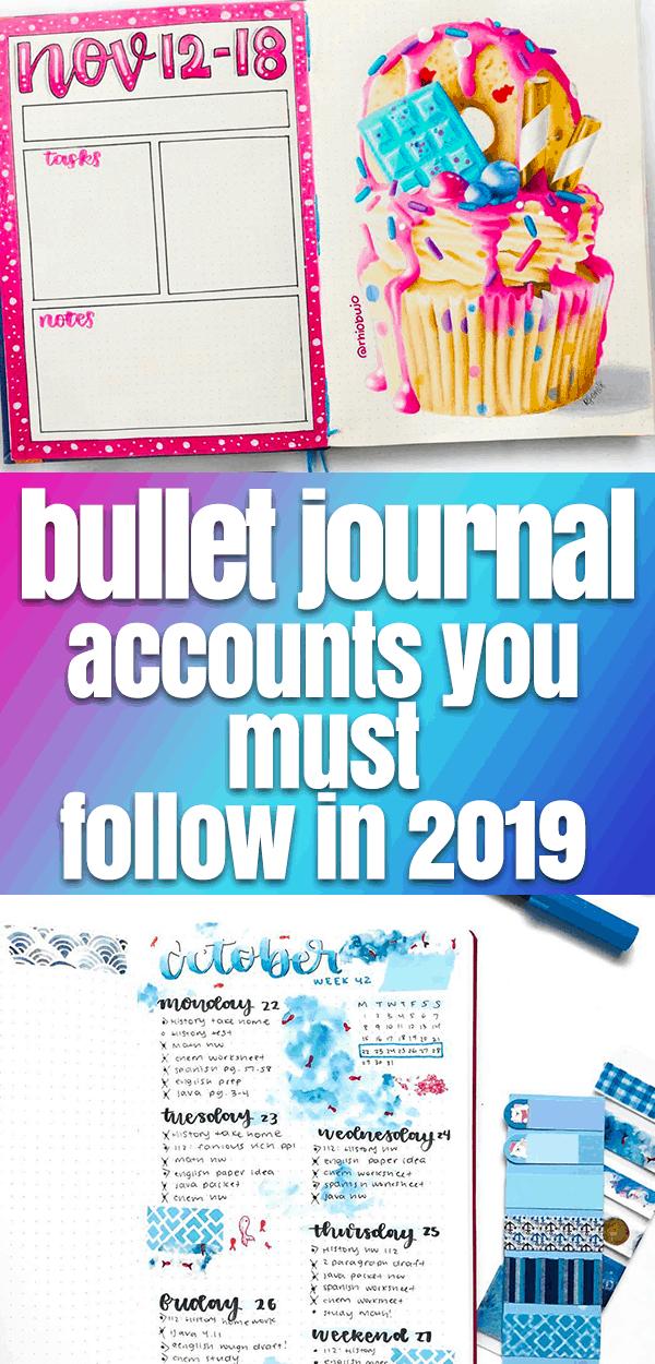 Bullet Journal Inspiration for 2019 Pinterest Image with bullet journal spreads number 2