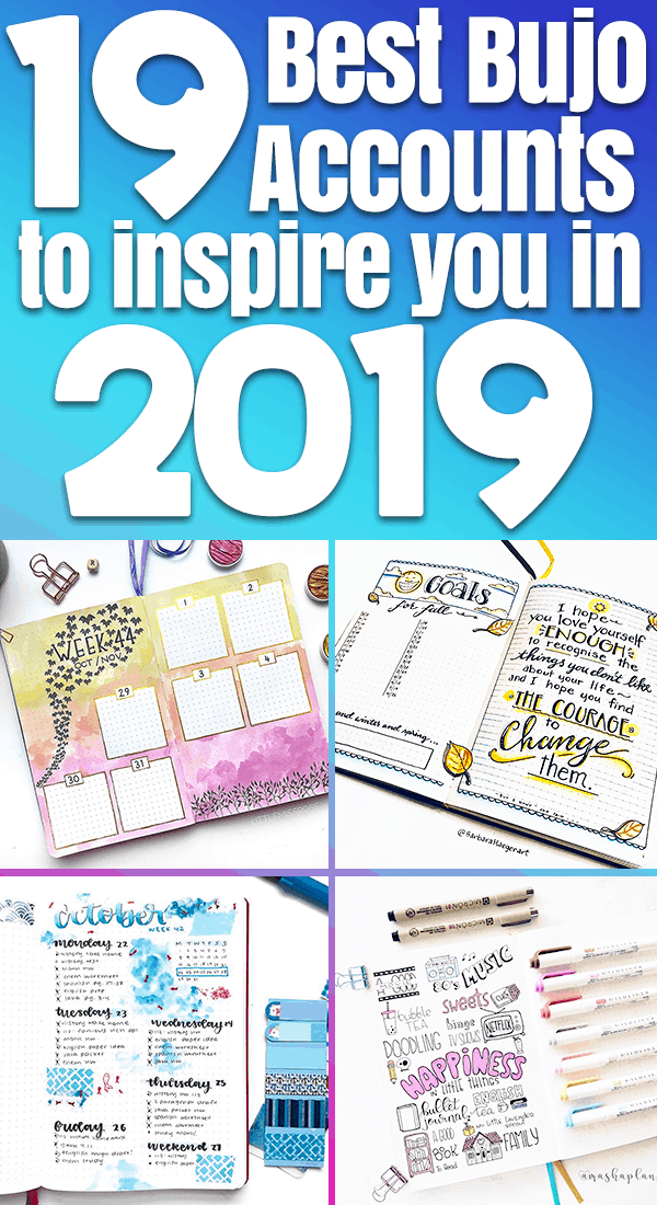 Bullet Journal Inspiration for 2019 Pinterest Image with bullet journal spreads number 1