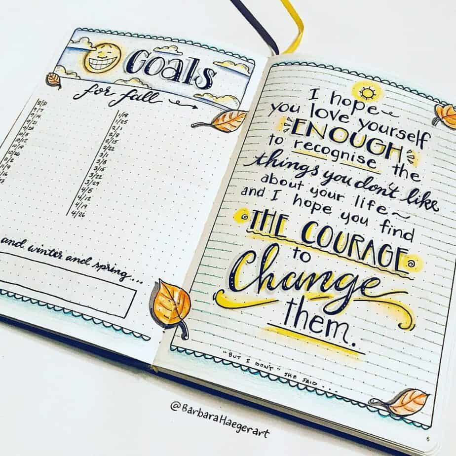 Bullet journal goal spread and quote with doodles for autumn