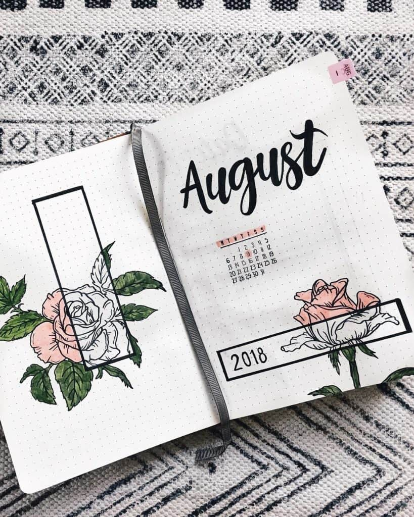 Bullet journal monthly cover page for August