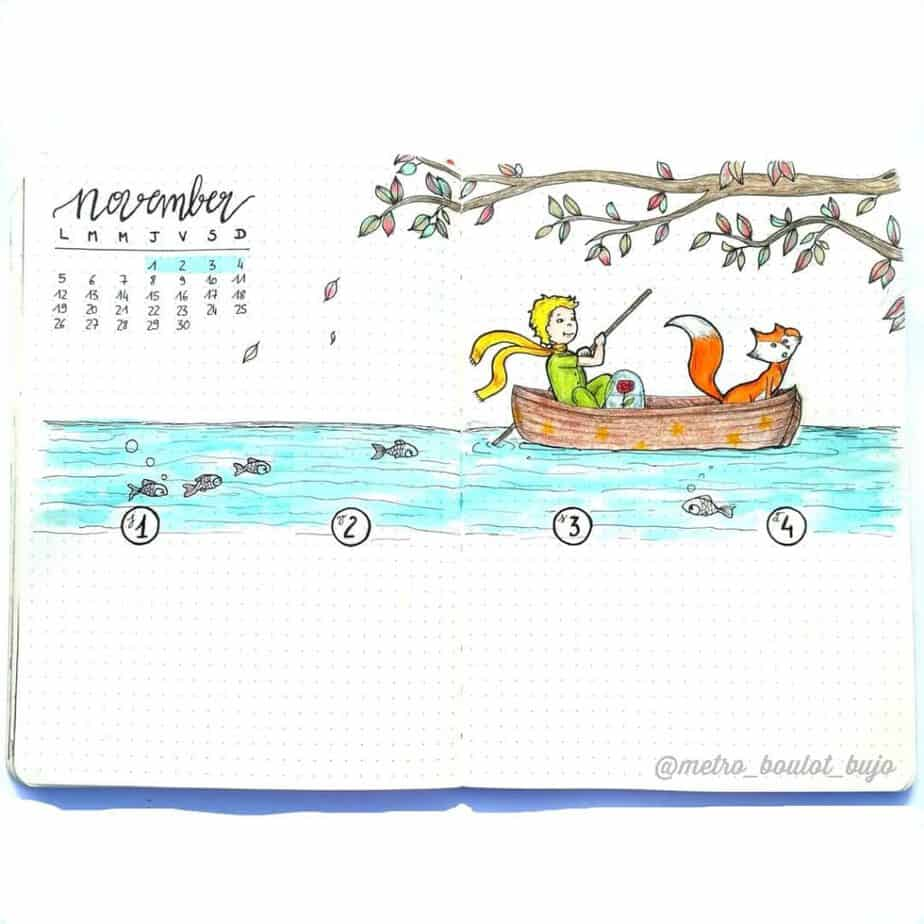 Bullet journal weekly spread with doodle of boy and fox in canoe in the water