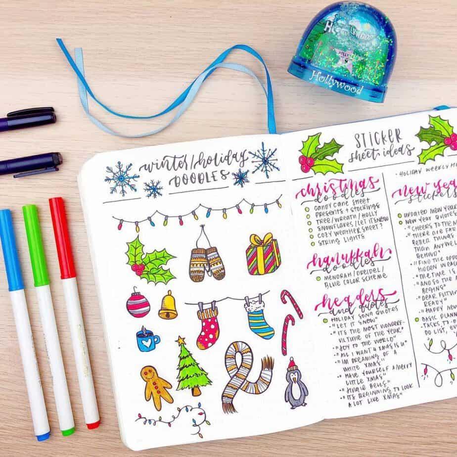 Bullet journal winter holiday doodles spread
