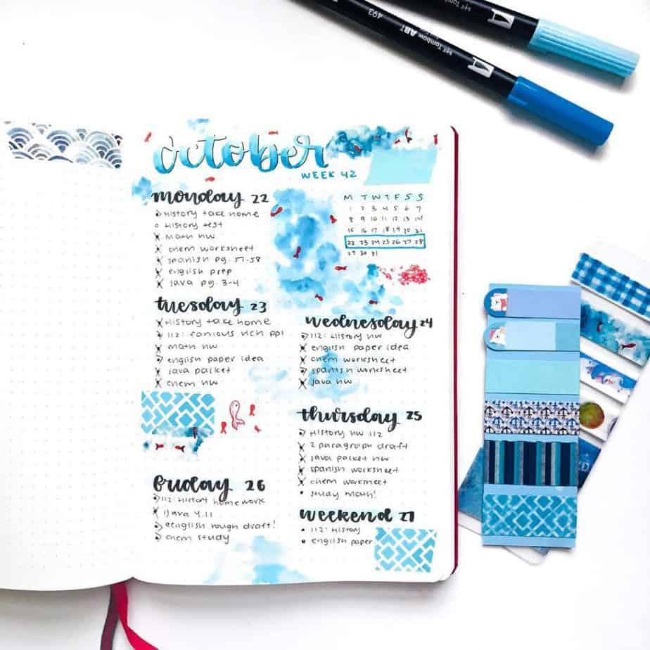 Bullet journal weekly set up with beautiful calligraphy