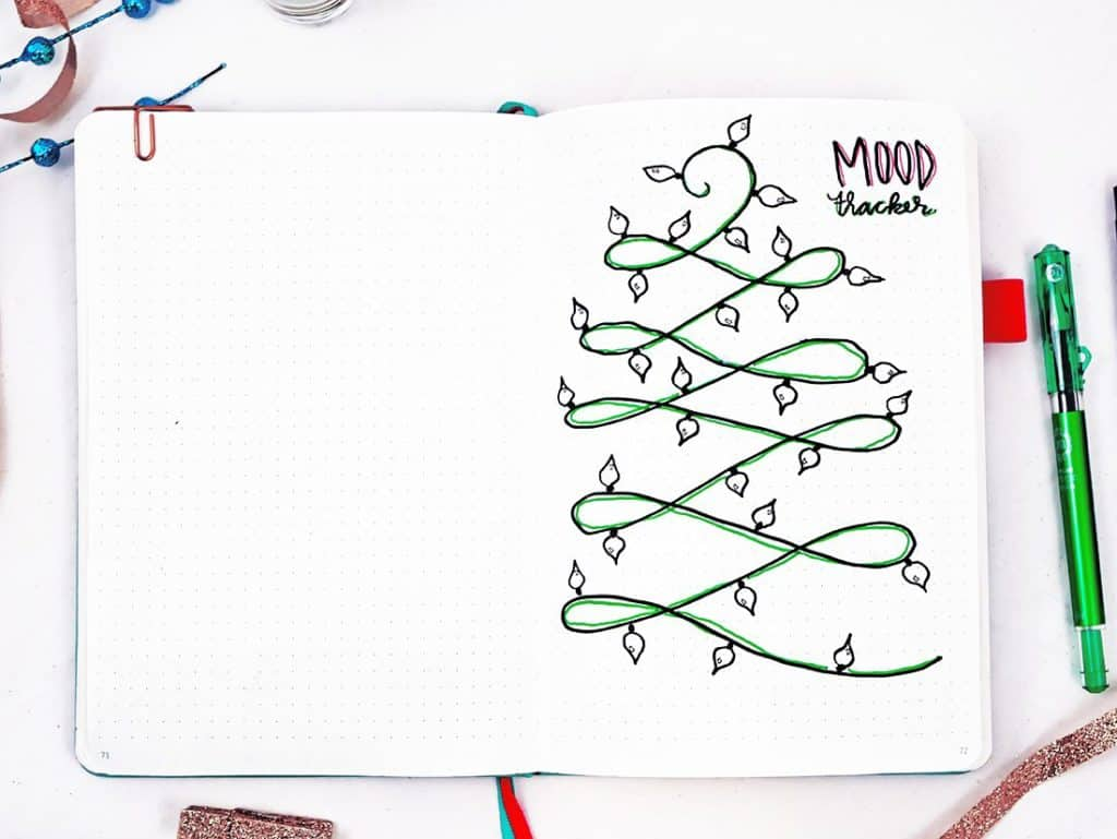 Bullet journal holiday theme December mood tracker