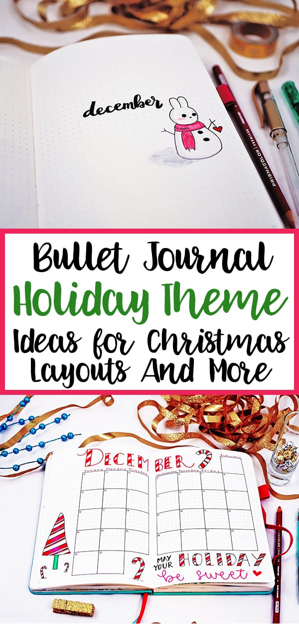 Bullet journal holiday theme image for Pinterest 1