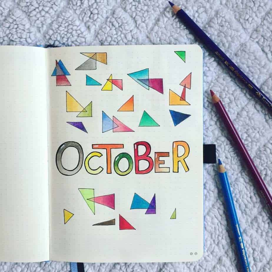 Geometric shaped October cover page for bullet journal