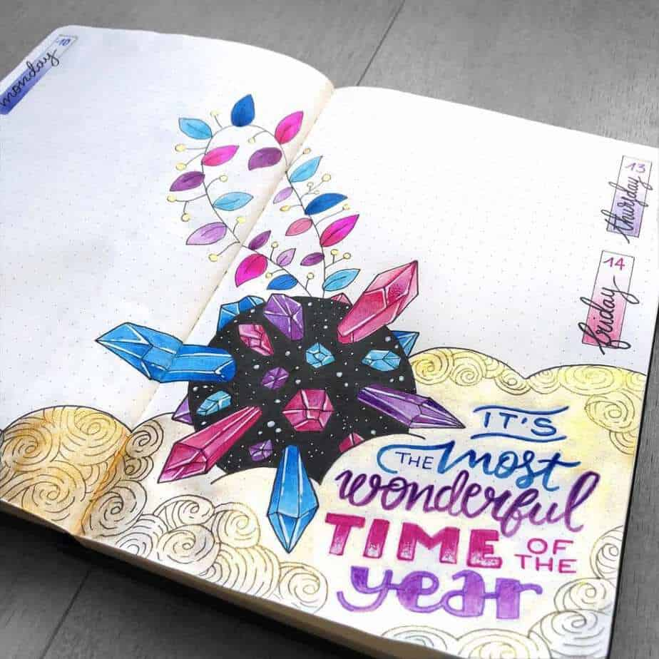 Beautiful weekly layout for December 2018 bullet journal with gem doodles