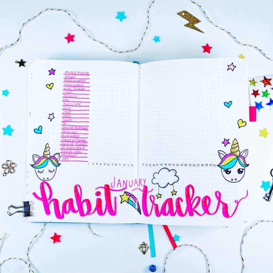 Unicorn themed bullet journal habit tracker