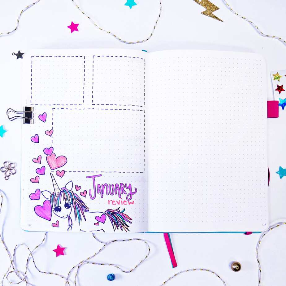 Unicorn and heart bullet journal monthly review