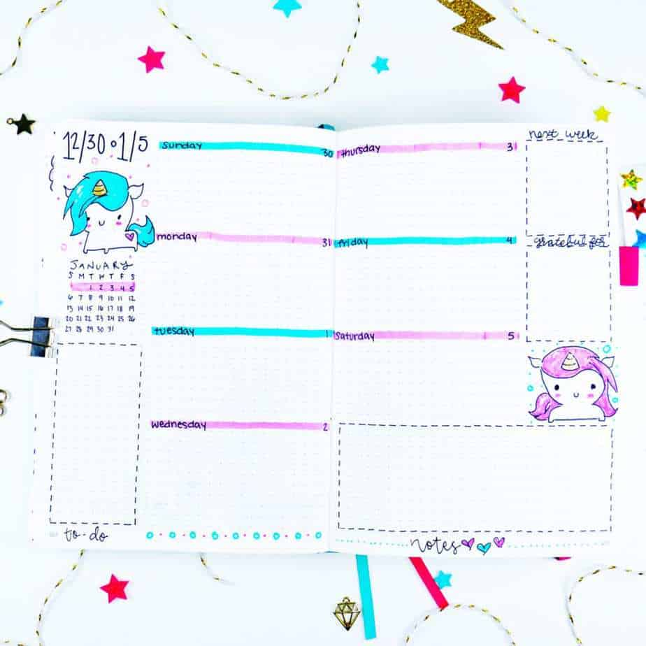 Chibi unicorn bullet journal theme weekly layout