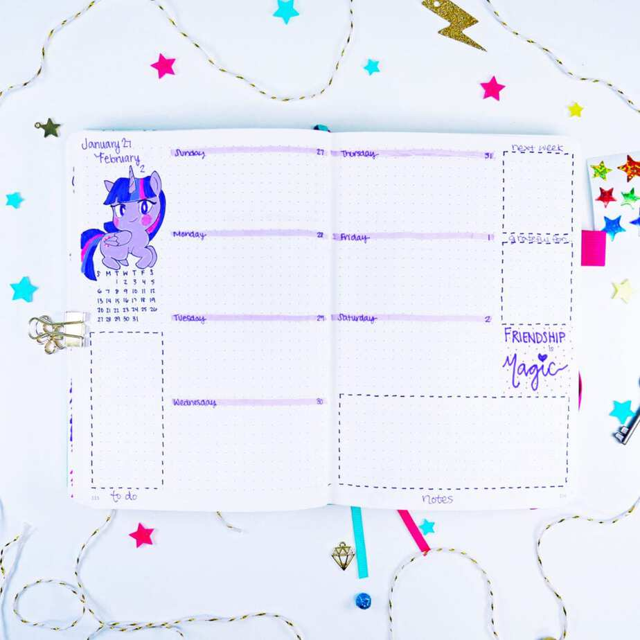 Twilight Sparkle unicorn bullet journal weekly layout