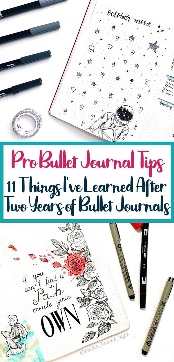 Pinterest image for Pro Bullet journal Blog tips blog post with turquoise border.