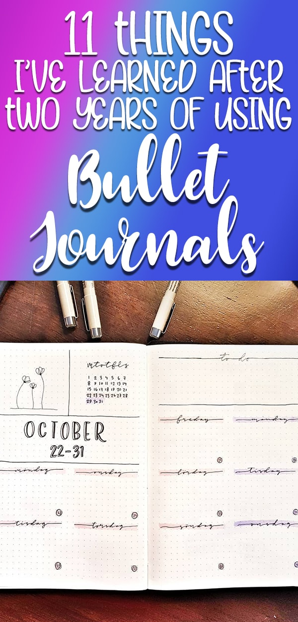 Purple and blue 11 things I've learned after two year of using bullet journals Pinterest image.