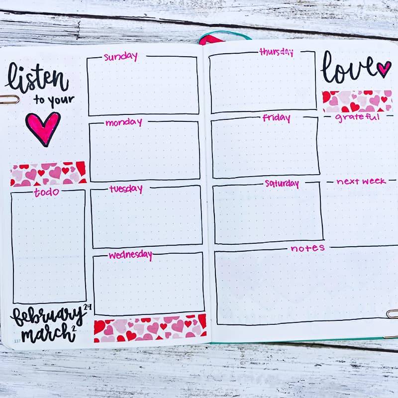 Heart washi, heart doodles, and heart quotes for weekly bujo layout