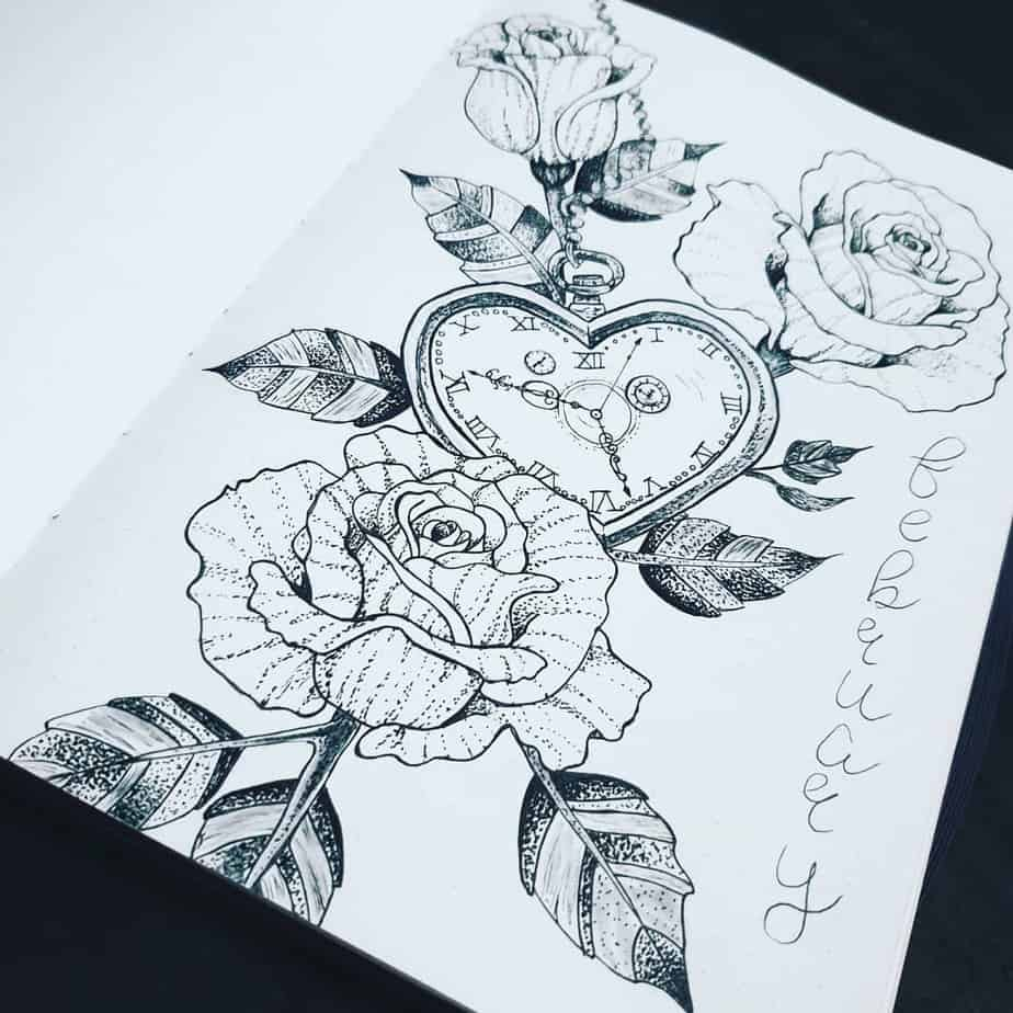 Flowers and heart drawings in February cover page