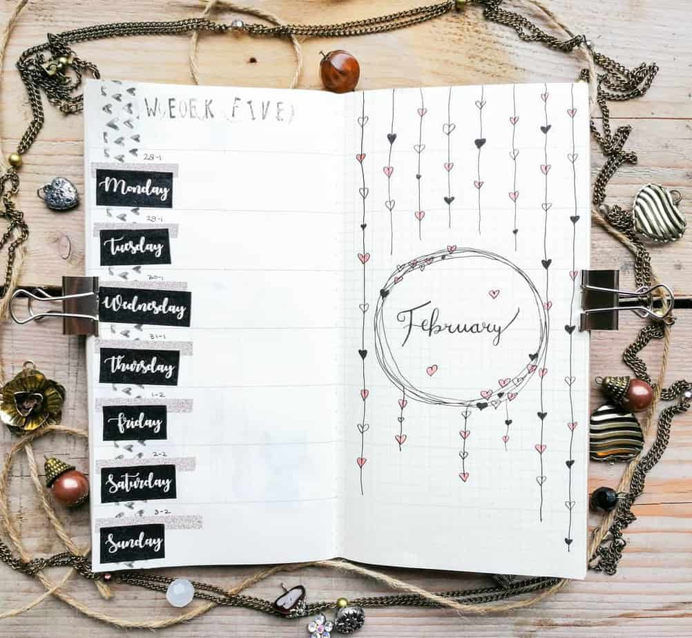 Heart light doodles for February bullet journal cover page