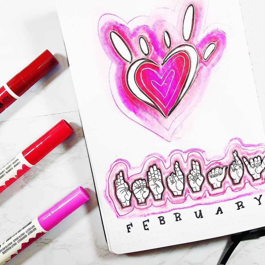 February cover page for bullet journal with heart sign language doodles