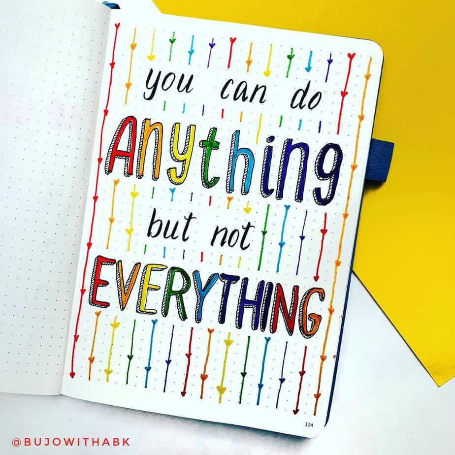 Inspirational quote with beautiful rainbow heart borders