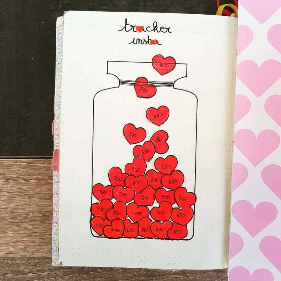 Heart doodles Instagram tracker bullet journal collection