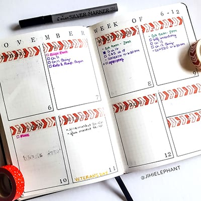 Beautiful font stamps in a weekly layout.