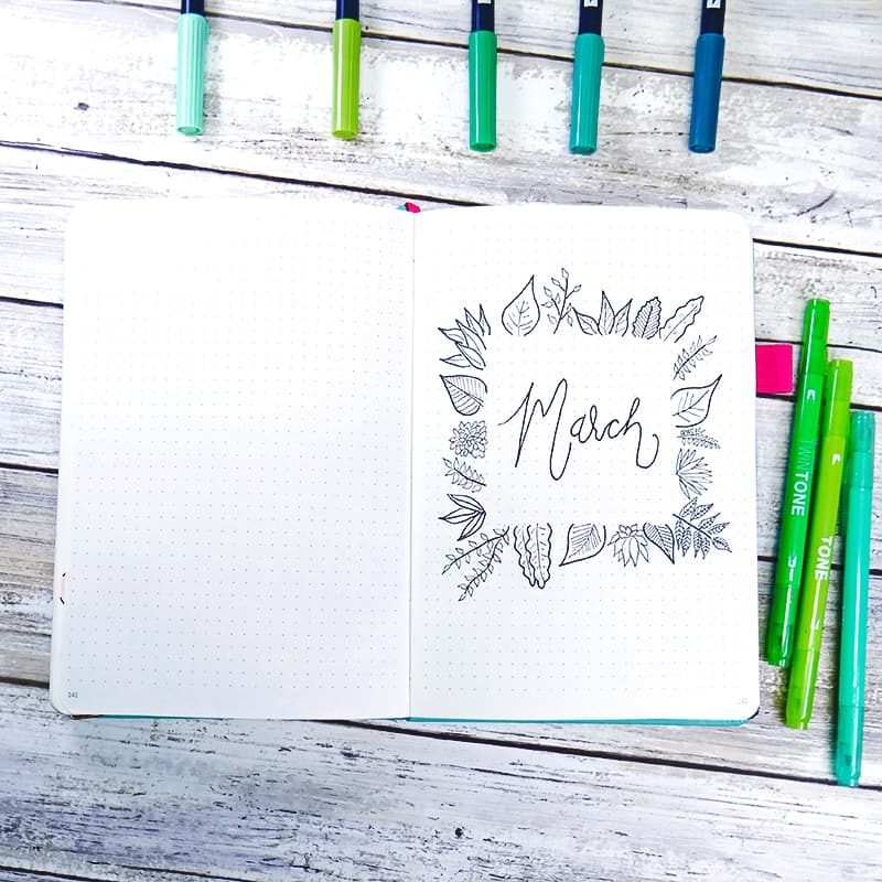 black and white bullet journal plant border cover page
