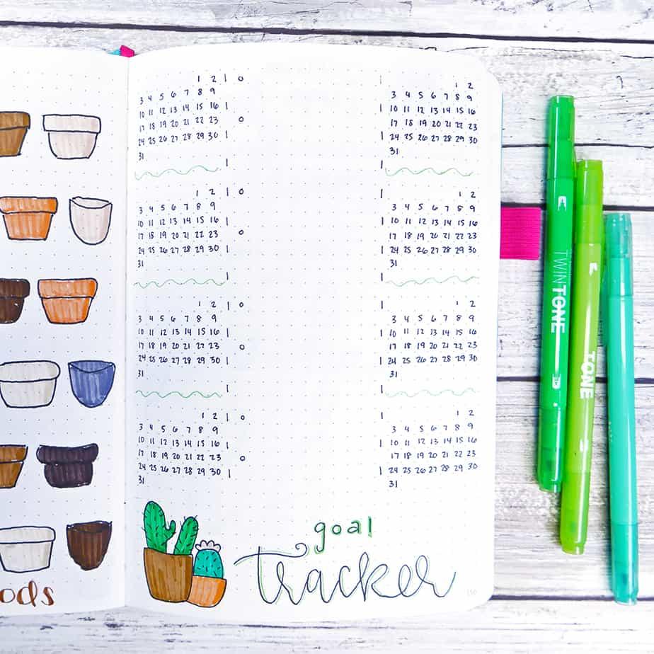diy plant art bullet journal layout goal tracker.