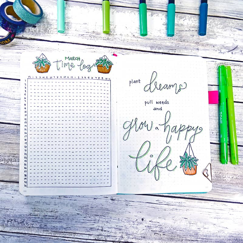 Bullet journal plant theme spreads