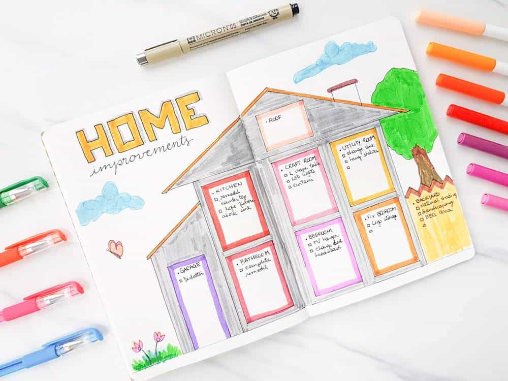 Home improvement layout for bullet journal