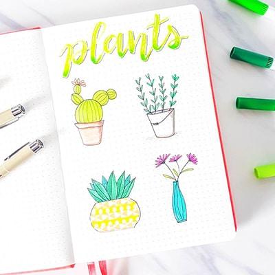 Easy plant doodles for bullet journals.