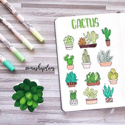 How to draw cactus doodles in bullet journals.