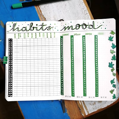 Plant theme habit and mood tracker with green and black art.