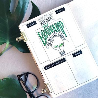 Green bullet journal dump layout