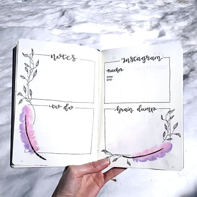 Mind dump in bullet journal with feather doodles